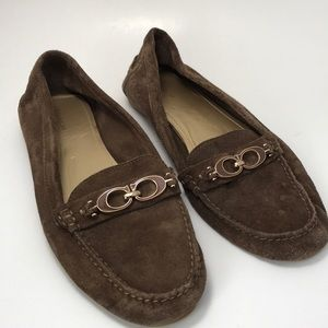 Coach Suede Fortunata Loafers in Light Tan/Gray 10
